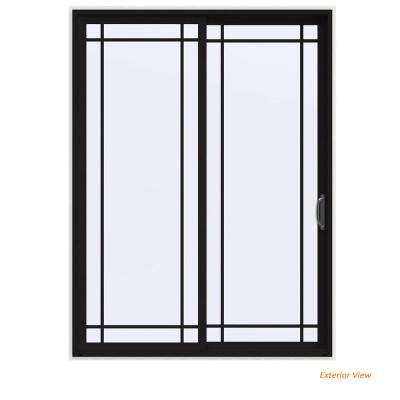 72 in. x 96 in. V-4500 Contemporary Black Painted Vinyl Right-Hand 9 Lite Sliding Patio Door w/White Interior
