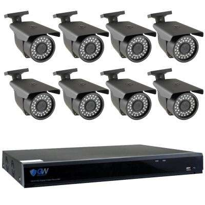 8-Channel HD-Coaxial Security System with 8x GW561HD 5-MP Cameras 3.3 mm to 12 mm Varifocal Lens 98 ft. IR and 2TB HDD