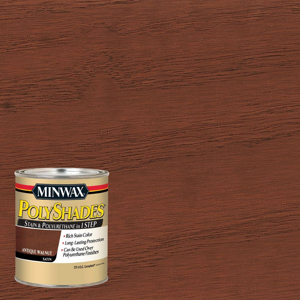 1 qt. PolyShades Antique Walnut Satin 1-Step Stain and Polyurethane 275
