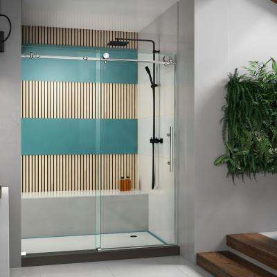 Enigma-X 56 to 60 in. x 76 in. Frameless Sliding Shower Door in Polished Stainless Steel