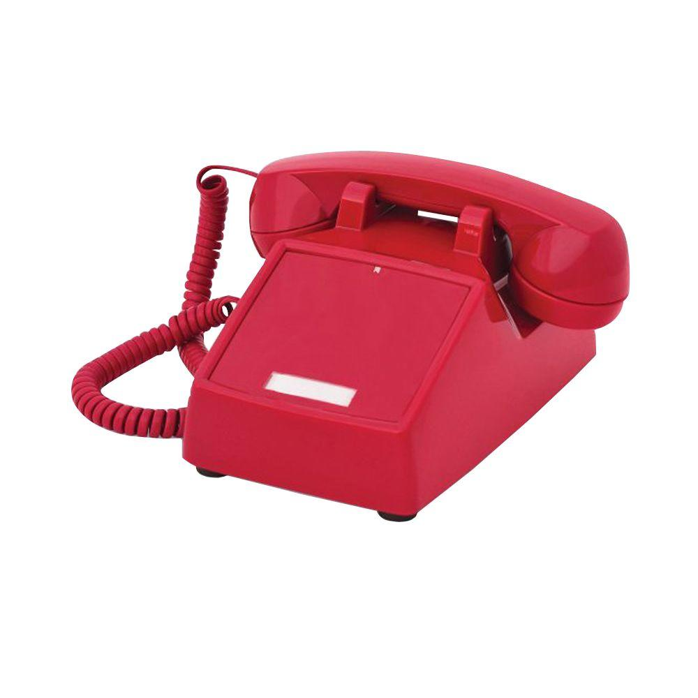 Cortelco Desk No Dial Corded Telephone - Red