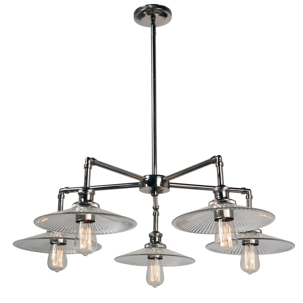Ancestry 5-Light Nickel Chandelier with Glass Shade