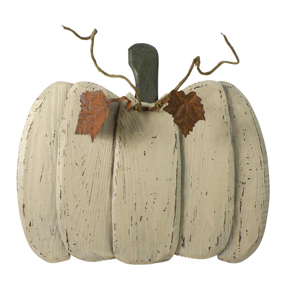 """Northlight 14/"""" White Flat Round Pumpkin Fall Harvest Table Top Decoration"""