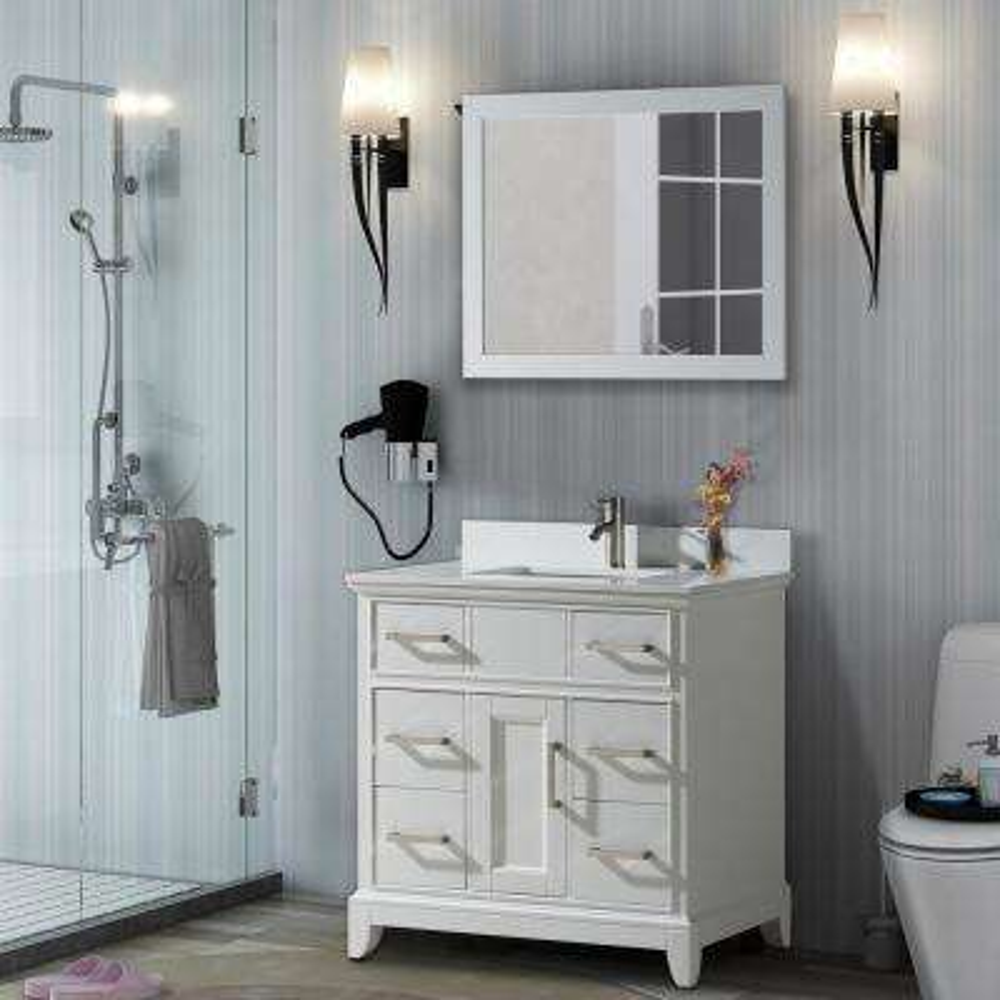 Genoa 36 in. W x 22 in. D x 36 in. H Vanity in White with Single Basin Vanity Top in White Phoenix Stone and Mirror