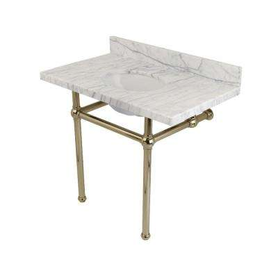 Washstand 36 in. Console Table in Carrara Marble White with Metal Legs in Polished Nickel