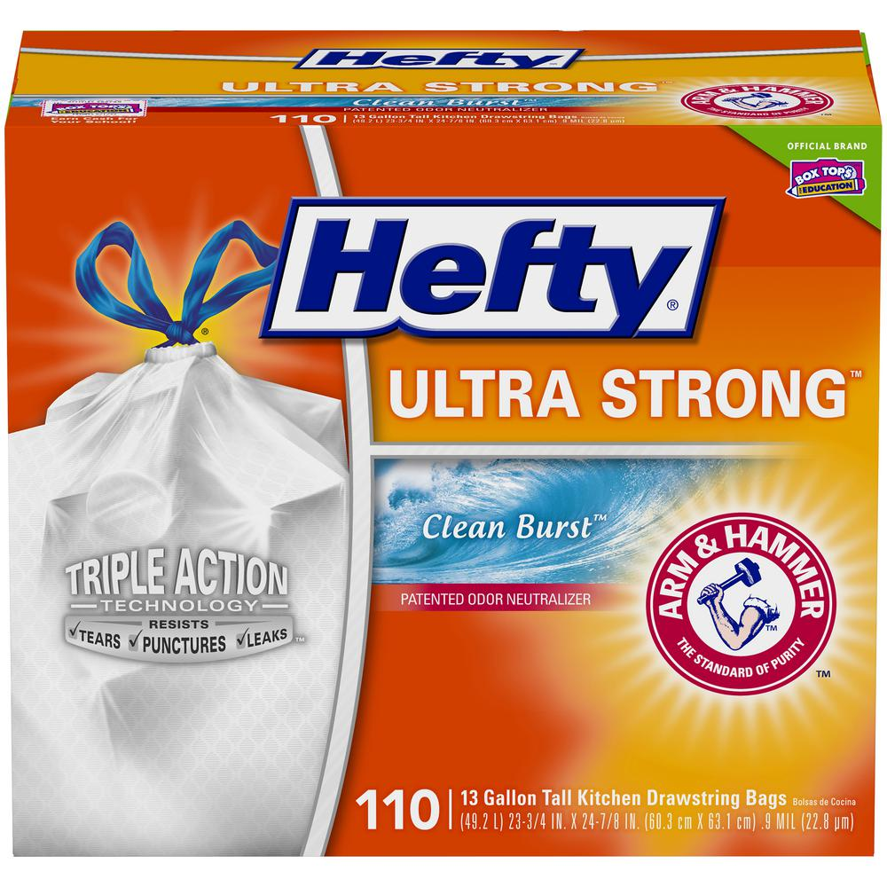 Hefty Ultra Strong 13 Gal Clean Burst Tall Kitchen Trash Bags 110 Count