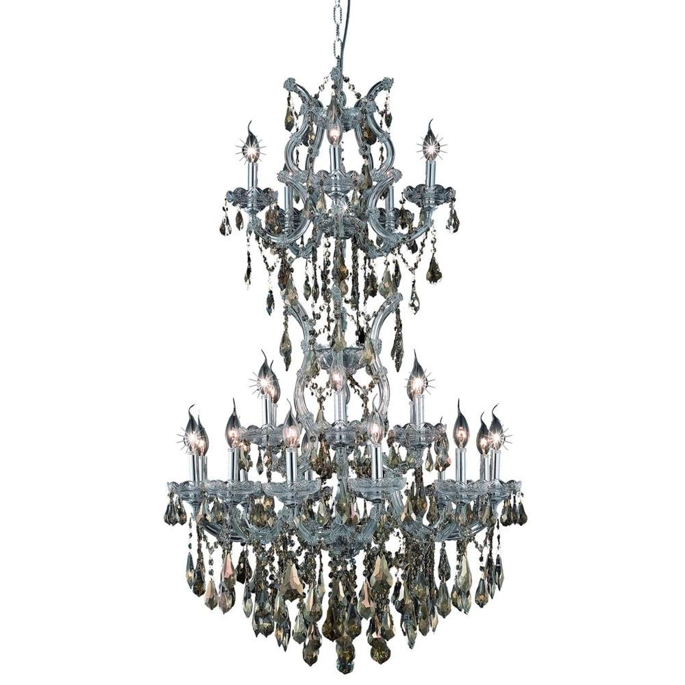 Elegant Lighting 25-Light Chrome Chandelier with Golden Teak Smoky Crystal