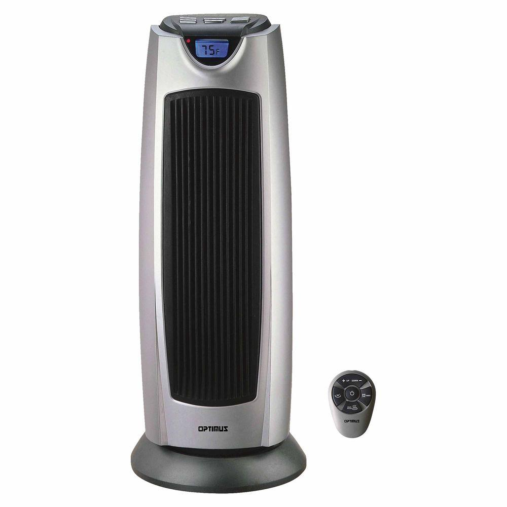 Optimus 21 in. 750-Watt to 1500-Watt Oscillating Tower Heater with Digital Temp Readout and Remote Control