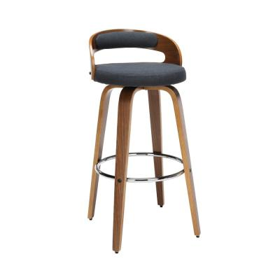 161 Collection Mid Century Modern 30 in. Navy with Fabric Back and Seat  Low Back Bentwood Frame Swivel Seat Stool