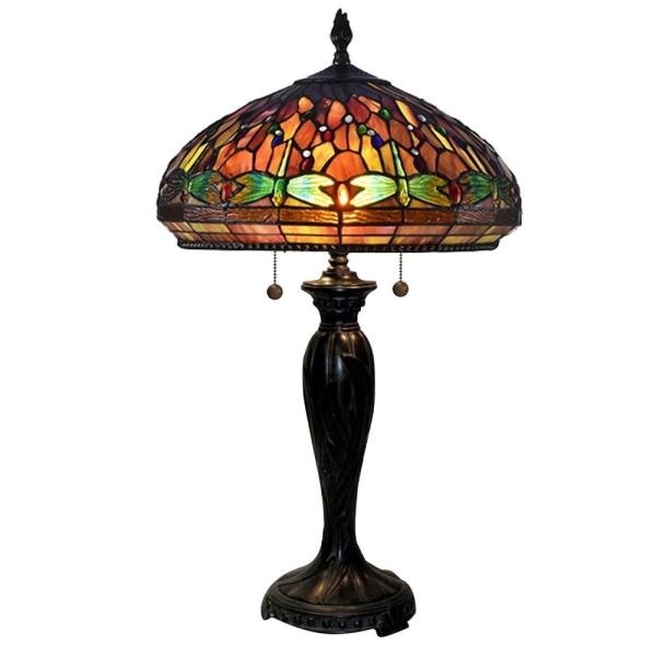 Edinger Dragonfly 28 in. Fieldstone Table Lamp with Hand Rolled Art Glass Shade