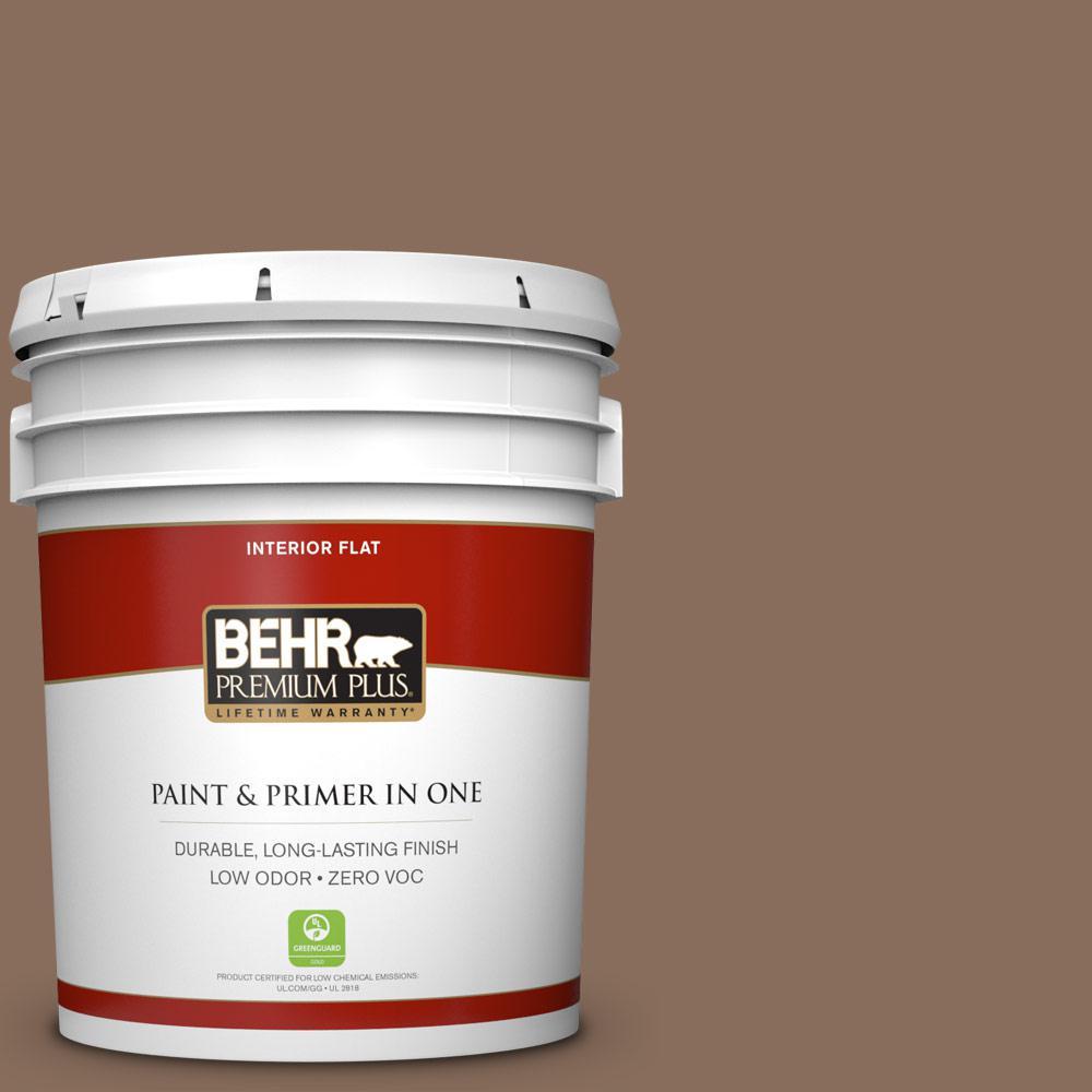 5 gal. #N190-6 Nut Brown Zero VOC Flat Interior Paint