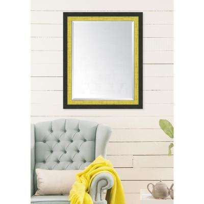 28 in. x 34 in. Framed Slate Black and Yellow Mirror