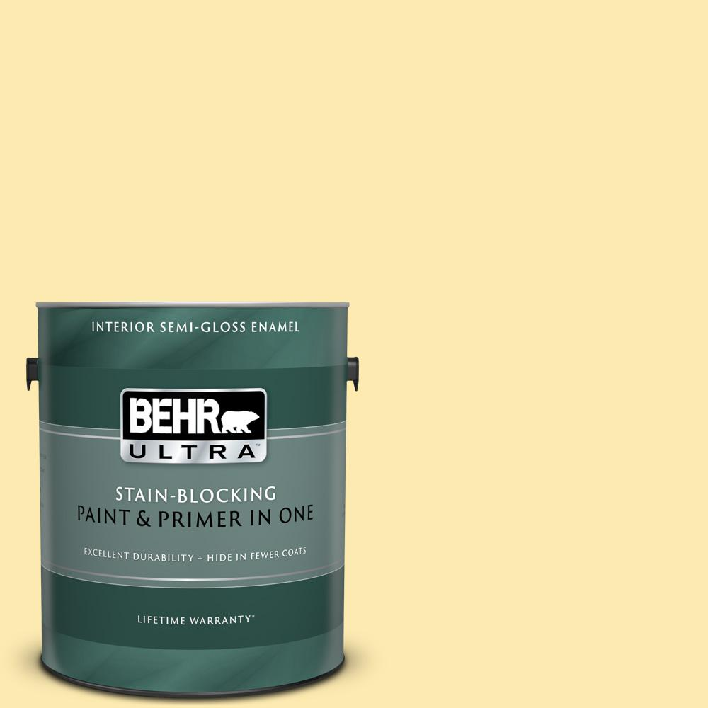 Behr Ultra 1 Gal 360a 3 Banana Split Semi Gloss Enamel Interior Paint And Primer In One 375001 The Home Depot