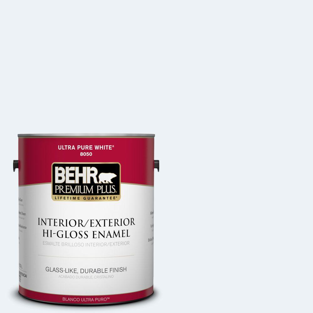 BEHR Premium Plus 1-gal. #BL-W10 Maui Mist Hi-Gloss Enamel Interior/Exterior Paint