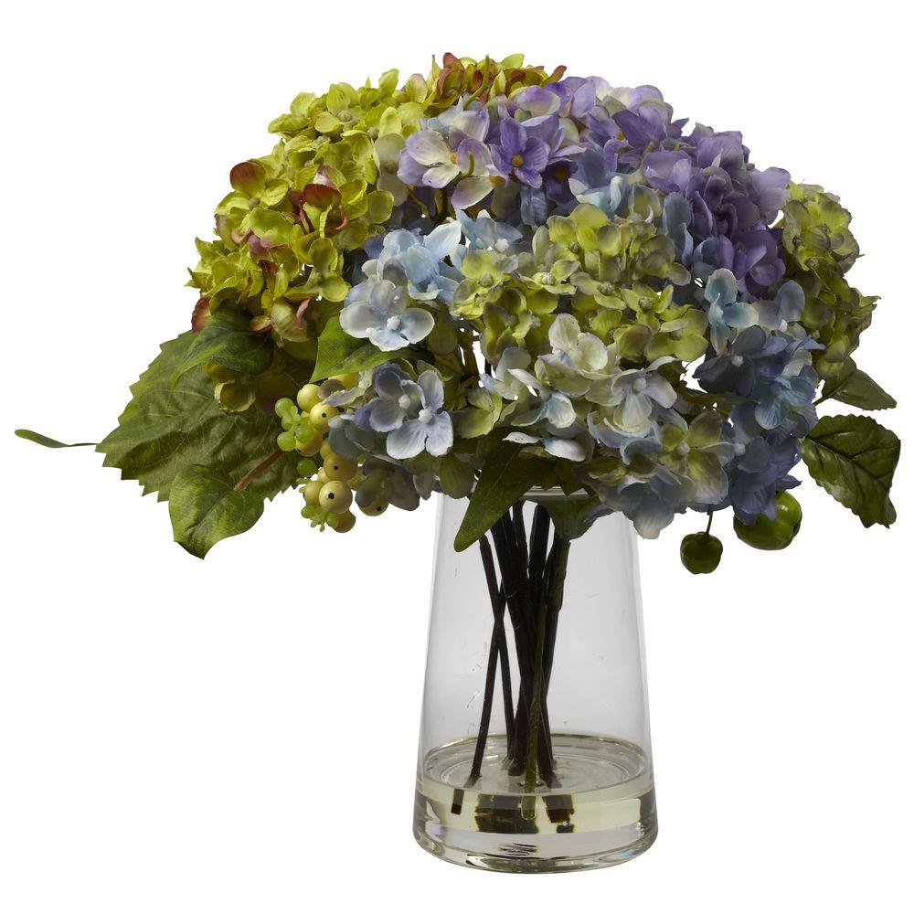 Nearly Natural Hydrangea With Glass Vase Arrangement 4935 The Home