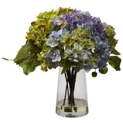 Hydrangea with Glass Vase Arrangement