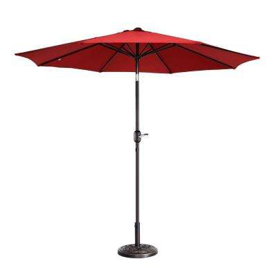 9 ft. Aluminum Market Auto Tilt Patio Umbrella in Red