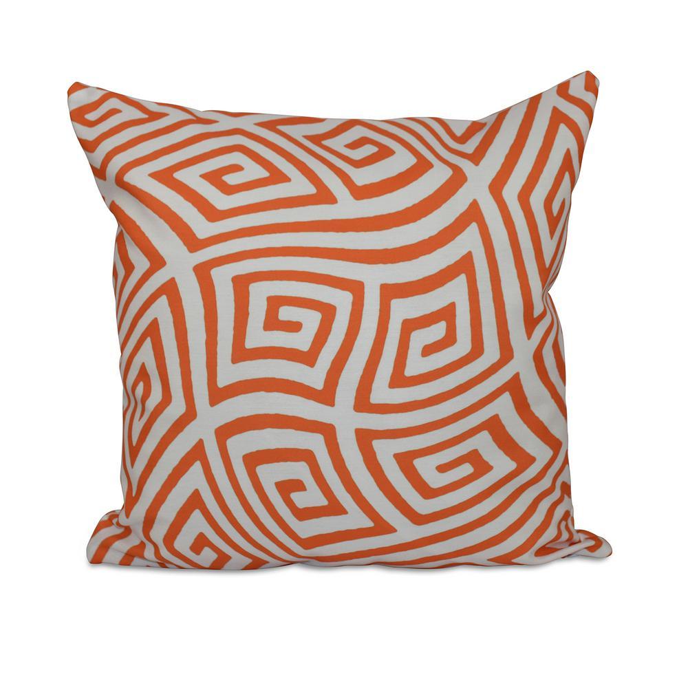 16 in. x 16 in. Geometric Maze Decorative Pillow in Celosia Orange