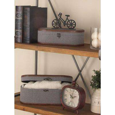Globetrotter Wood Fabric Boxes with Leather Accents (Set of 2)