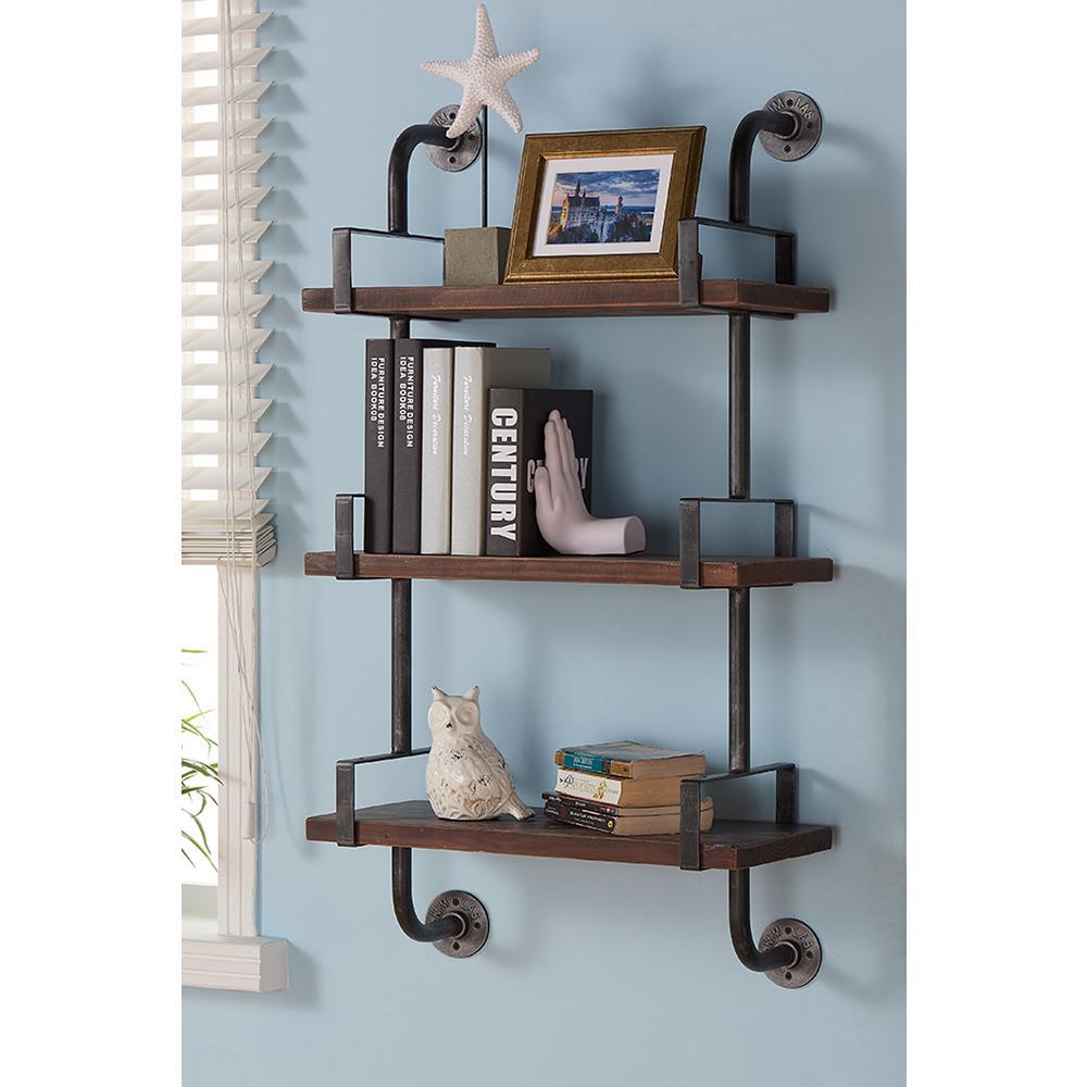 40 in. Silver Booker Industrial Walnut Wood Floating Wall Shelf