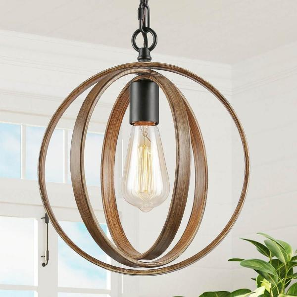 Lora Collection 11 in. 1-Light Black Modern Farmhouse Artisan Iron Globe Pendant with Distressed Pine Wood Accents