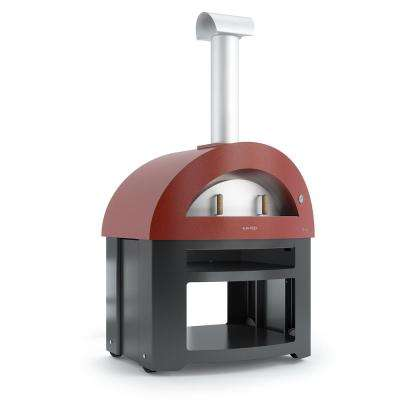 Forno Allegro with Cart in Red - 39.37 in. x 27.56 in. Outdoor Wood Burning Oven with Cart in Red