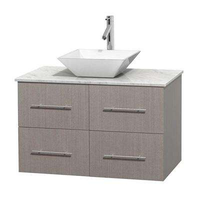 Centra 36 in. Vanity in Gray Oak with Marble Vanity Top in Carrara White and Porcelain Sink