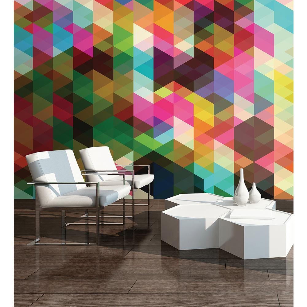 118 in. x 98 in. Geometrix Wall Mural
