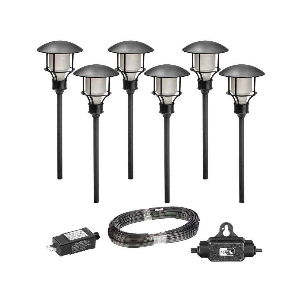 Hampton Bay Low Voltage Black Outdoor Integrated Led Landscape Path Light 6 Pack Kit