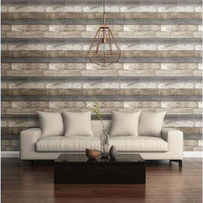 Grey Weathered Plank Wood Texture Wallpaper Sample