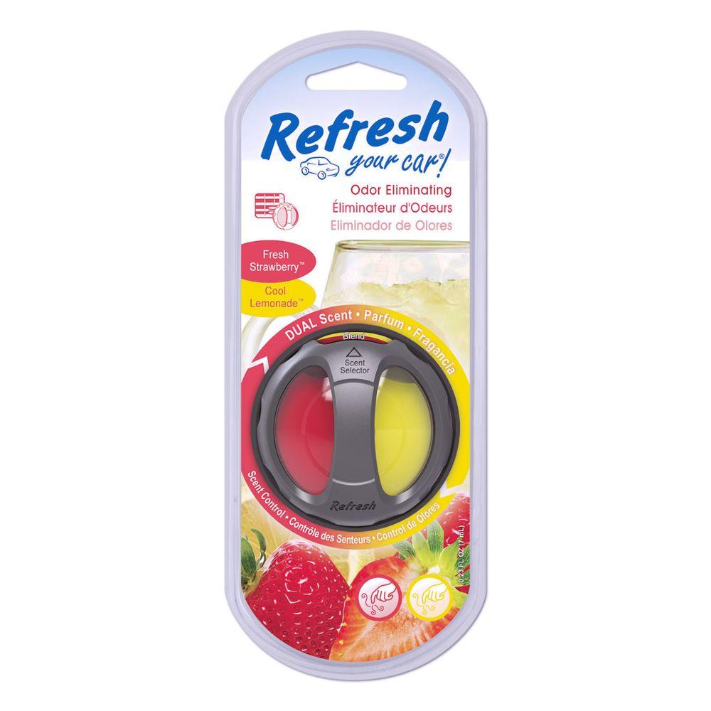 refresh your car fresh strawberry and cool lemonade odor eliminating dual scented oil diffuser. Black Bedroom Furniture Sets. Home Design Ideas