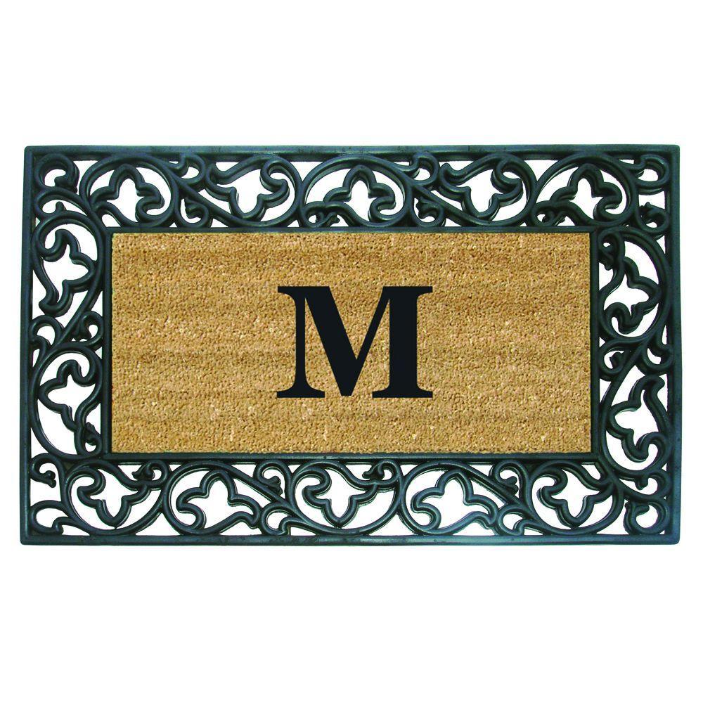 Acanthus Border 22 in. x 36 in. Rubber Coir Monogrammed M Door Mat