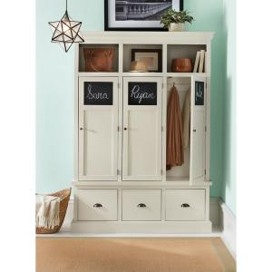 Home Decorators Collection Shelton Polar White Wooden Storage Locker With 3 Doors And Drawers 9608600400 The Depot