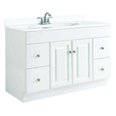 Wyndham 48 in. W x 21 in. D Unassembled Vanity Cabinet Only in White Semi-Gloss