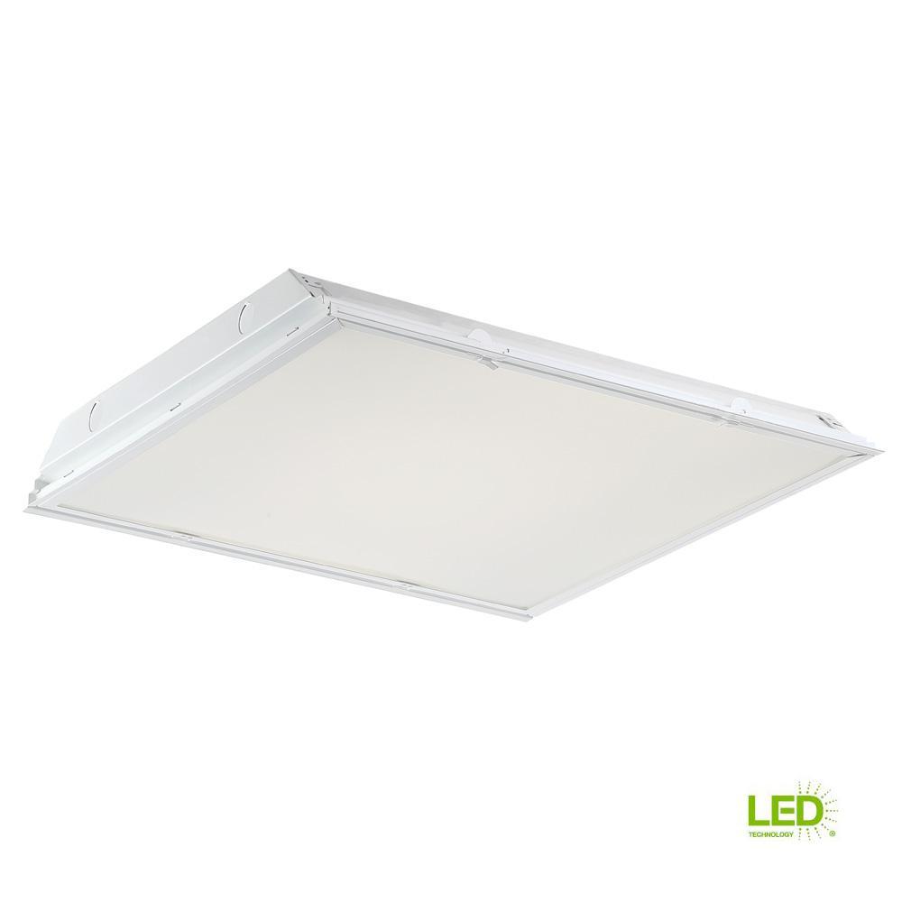 EnviroLite 2 ft. x 2 ft. 64-Watt Equivalent White Lens Integrated LED Commercial Grid Ceiling Troffer