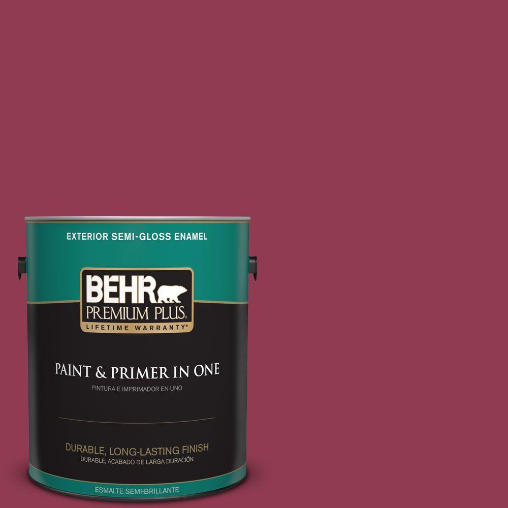 BEHR Premium Plus 1-gal. #120D-6 Cranberry Splash Semi-Gloss Enamel Exterior Paint