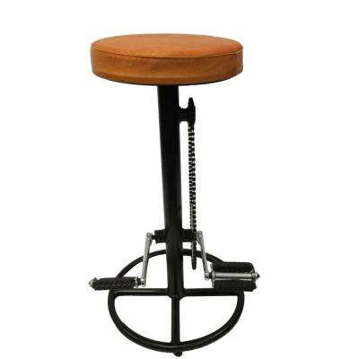 Industrial Style 29 in. Brown and Black Bicycle Wheel Design Pedal Bar Stool