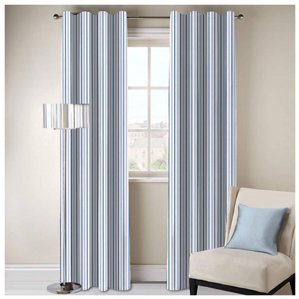 Bryson Stripe Designer Organic Cotton Drapery in Blue - 50 in. x 108 in.