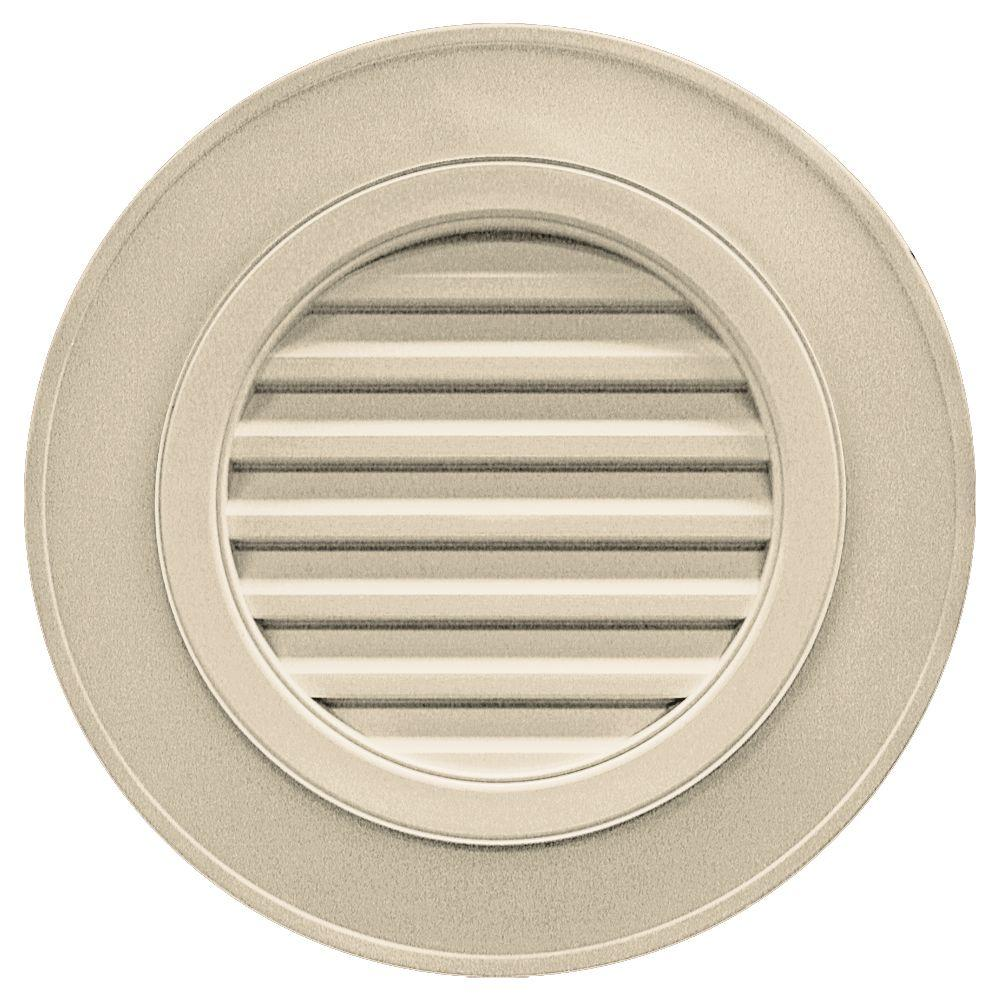 Builders Edge 28 in. Round Gable Vent in Almond (without Keystones)