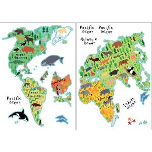 Brewster In X In Kids World Map Wall DecalCR - Kids world map wall decal