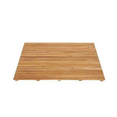 36 in. x 36 in. Bathroom Shower Mat in Natural Teak