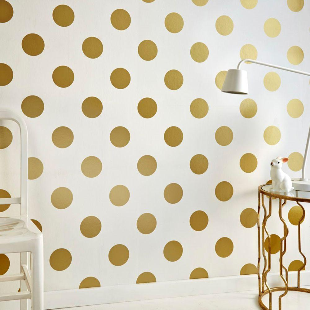 Graham brown dotty white and gold removable wallpaper for Removable wallpaper