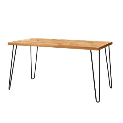 Banyan Honey Brown Wood Rectangular Dining Table for 6 with Metal Hairpin Legs (59 in. L x 29.68 in. H)