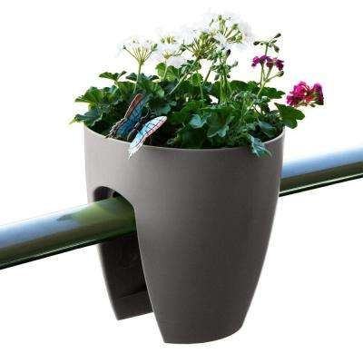 11.4 in. x 11.8 in. x 11.4 in. Dark Gray Plastic Railing and Deck Planter (2 pack)