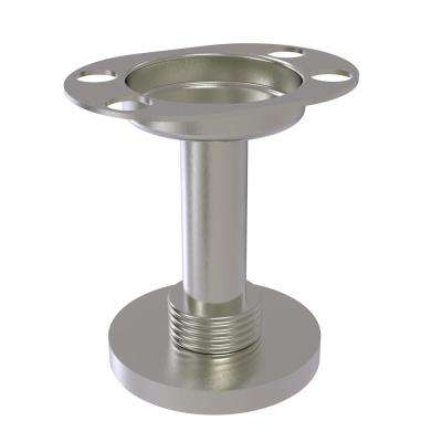 Vanity Top Tumbler and Toothbrush Holder with Groovy Accents in Satin Nickel