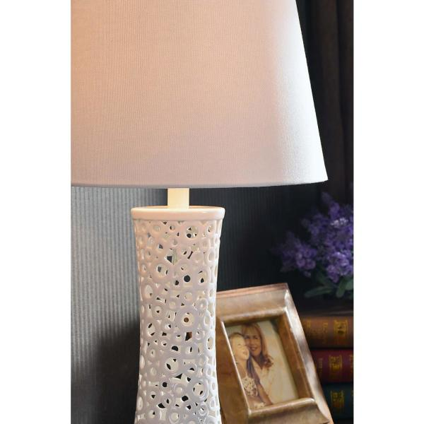Kenroy Home Glover 26 In White Table Lamp 21056wh The Home Depot