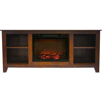 Santa Monica 63 in. Electric Fireplace and Entertainment Stand in Walnut with 1500-Watt Charred Log Insert