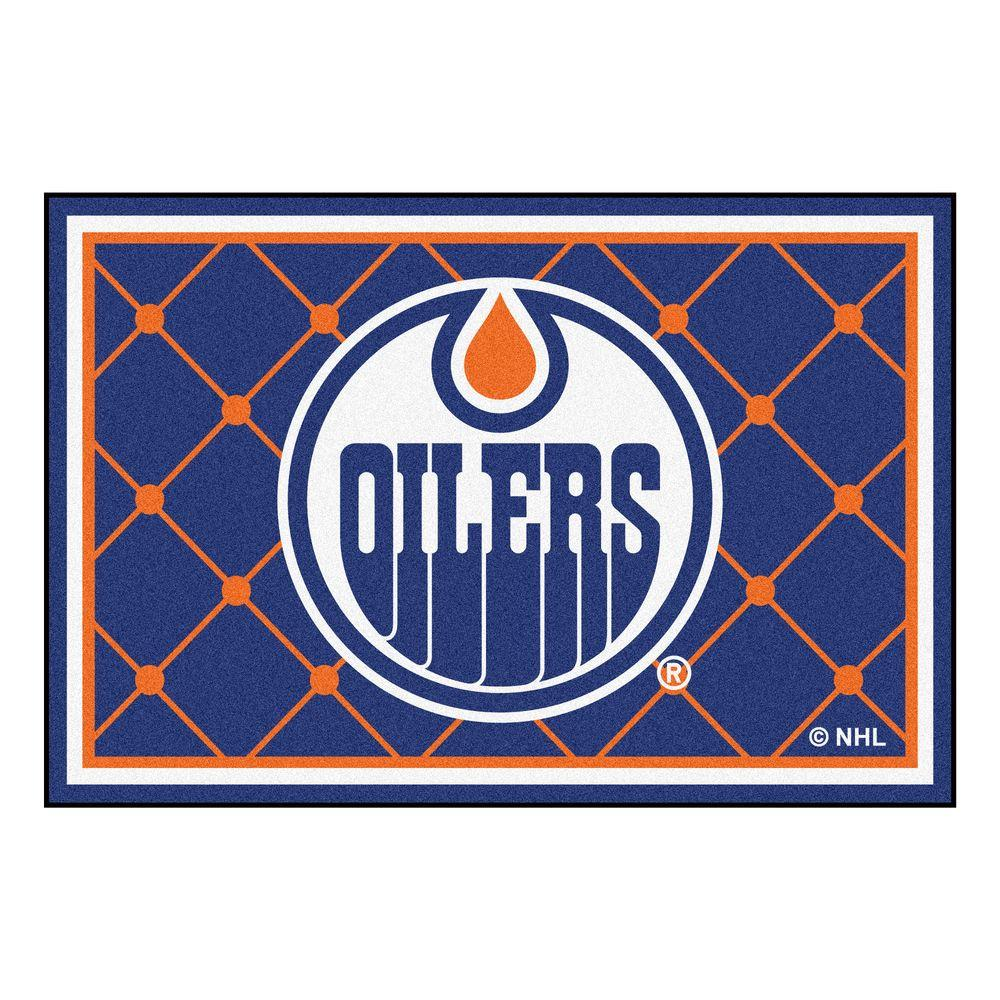 Fanmats Nhl Edmonton Oilers Blue 5 Ft X 8 Ft Indoor Area
