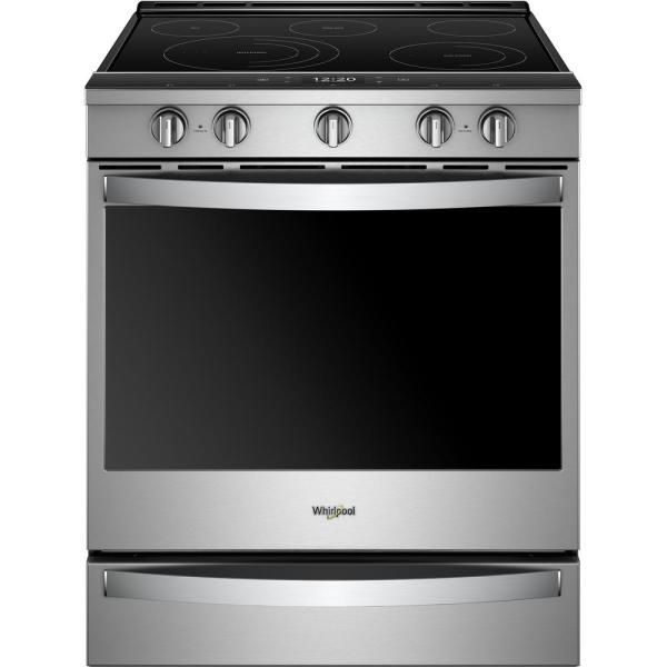 Whirlpool 6.4 cu. ft. Smart Slide-In Electric Range with Scan-to-Cook Technology in Fingerprint Resistant Stainless Steel
