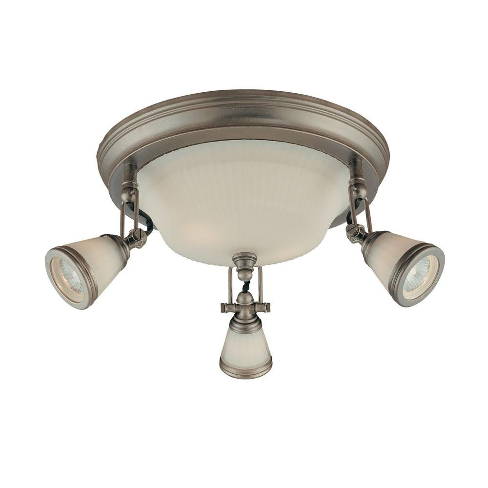 14 in. 5-Light Antique Pewter Semi-Flushmount with Frosted Glass Shades
